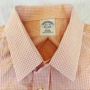 Brooks Brothers Plaid Slim Casual Button 16.5-32